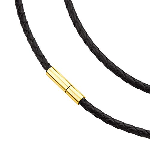 - 555Jewelry Men Women Unisex Stainless Steel Braided Rope Genuine Leather Twist Cord Wrap Around Vintage Magnetic Clasp Single Lock Fine Fashion Jewelry Accessories Necklace, Yellow Gold 16 Inch