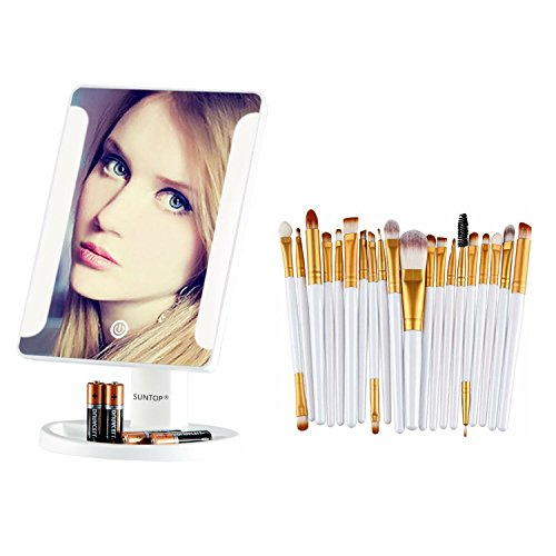 White Makeup Mirror with 8 Led Vanity & 20 Gold brushes set by Pretty Girls