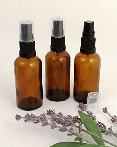 3 x botella de cristal ámbar aromaterapia 50 ml con bomba negra. Botella de vidrio