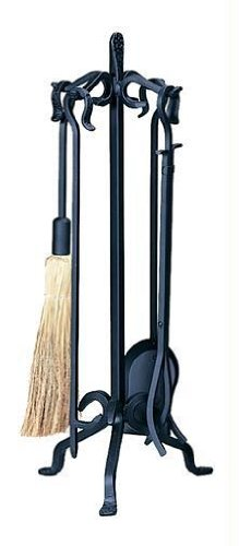 Wrought Iron Woodbasket - Heavy Weight Black Wrought Iron 5-Piece Fireplace Tool Set