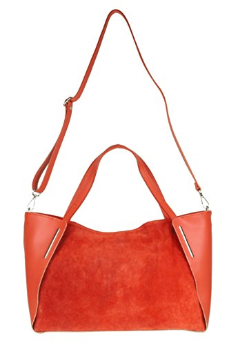 Suede Genuine Genuine Leather Red Leather HandBags Girly Italian Girly Bag Suede HandBags Italian Shoulder RqREISw