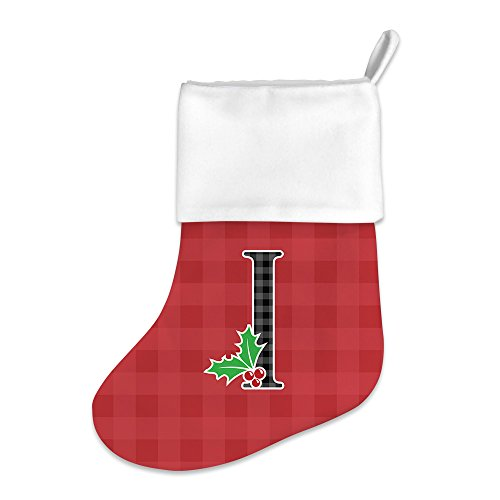 Mystic Sloth Adorable Monogram Initial Holly Berries Christmas Holiday Stocking (I) by Mystic Sloth