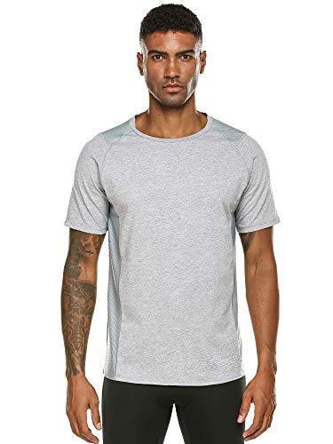 DAIKEN Men's Workout Tee Short Sleeve Cotton Performance T-Shirt Athletic Wicking Active Tee Shirt(Gray,M)
