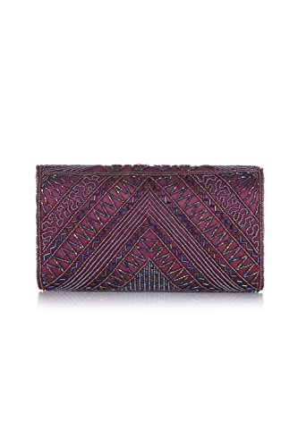 Clutch Bag Beatrice Embellished Hand Plum in Vintage Inspired rXqIxrA