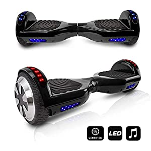 VEEKO Hoverboard Two-Wheel Self-Balancing Scooter with Bluetooth Speaker - 9.6Km/hr Max 225lbs Max / UL2272 Certified Hover Board / 250W Dual Motor /6.5'' Aluminum Alloy Wheels/Black