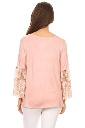 Womens Regular Size Solid Top, With Lace Kimono Sleeves MADE IN USA (S, Blush)