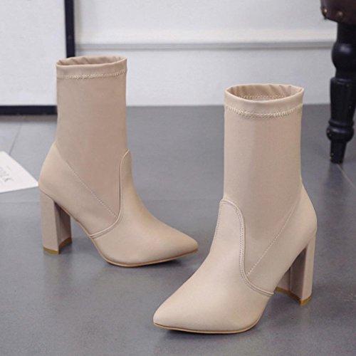 Stivaletti Donna Haop, Stivali Tacco Alto Moda Donna Classico Stivaletti In Tessuto Elasticizzato Beige
