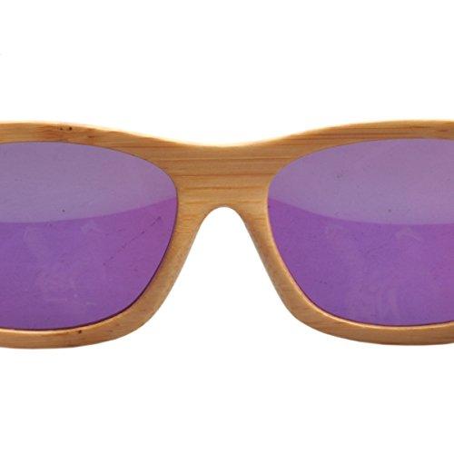 Marcos polarizado sol Iwood carbonizado gafas de Handcrafted de de lente Moda madera de Verde las bambú CwqpXH