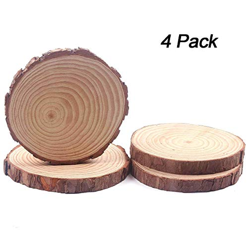 Fuhaieec Wood Slices Natural Unfinshed Round Pine Wood Slabs,7'' to 8'',4 Pack,Large Rustic Wood Pieces with Tree Bark for Wedding Centerpiece DIY Craft Christmas Rustic Wedding Ornaments]()
