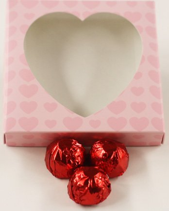 Scott's Cakes Rich Dark Chocolate Covered Candies Filled with Chocolate Italian Butter Cream with Red Foils in a 1 Pound Pink Heart Box -