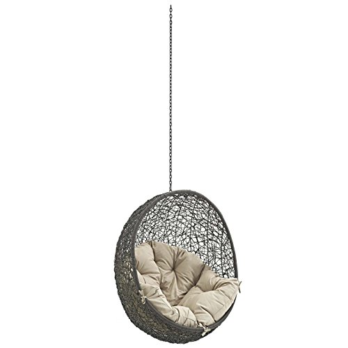 Modway Hide Outdoor Patio Swing Chair Without Stand, Gray (Cottage Wicker Furniture)