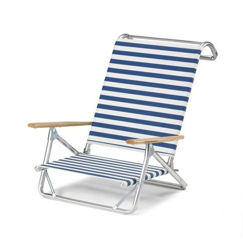 - Set of 2 Original Mini-Sun Chaise Folding Beach Arm Chairs With Blue/White Stripe Fabric