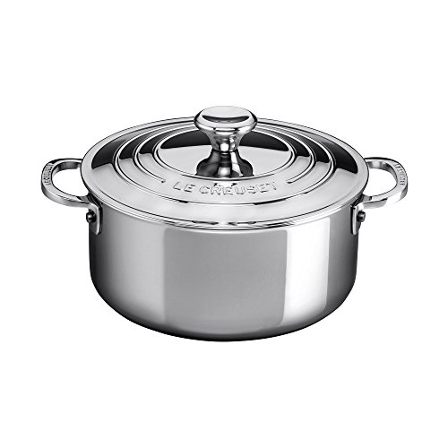 Le Creuset SSP3000-24 Shallow Casserole with Lid, 5.5 quart, Stainless Steel by Le Creuset