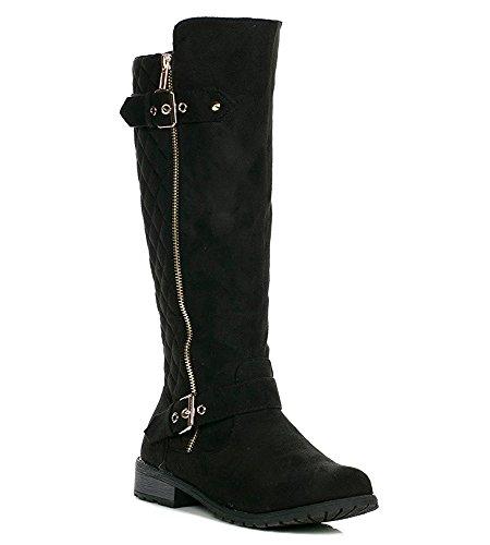 Forever Mango-21 Women's Winkle Back Shaft Side Zip Knee High Flat Riding Boots Black Nubuck 6