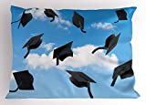 Lunarable Graduation Pillow Sham, Caps Thrown into Sky Last of The School Highschool College Ceremony Picture, Decorative Standard Size Printed Pillowcase, 26 X 20 inches, Blue Black