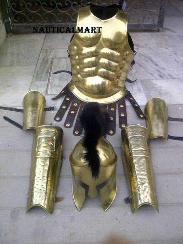 ass Greek Muscle Armor W/Spartan Helmet Leg Arm Guard Set Costume Halloween ()
