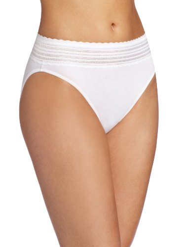 Warner's Women's No Pinching No Problems Lace Hi-Cut Brief Panty, White, Large ()