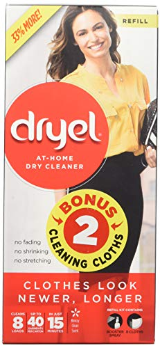 - Dryel At-Home BONUS Dry Cleaner Refill Kit with Extra 2 Cloths, Includes Dry Cleaning Cloths -  8 Load Capacity