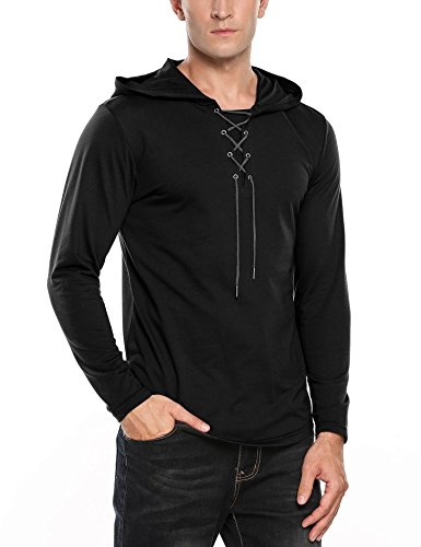 COOFANDY Men's Scottish Jacobite Ghillie Kilt Shirt Lace-up Hip Hop Long Sleeve Hoodie Pullover by COOFANDY