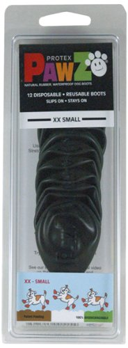 Pawz 1-Inch to 1.5-Inch Water-Proof Dog Boots, XX-Small, Black from Pawz Dog Boots