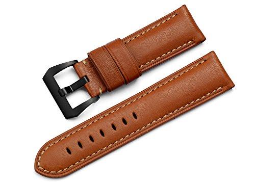iStrap 24mm Genuine Calfskin Padded PreV Watch Strap W/ 22mm Black PVD Tang Buckle - Brown