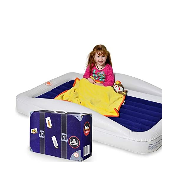 Sleep by Grace Inflatable Toddler Travel Bed with Safety Bumpers | Portable Blow Up Mattress for Kids with Built in Bed Rail