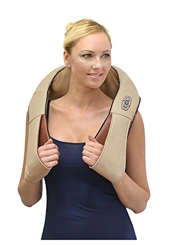 ComfySure Shiatsu Electric Shoulder and Neck Massager Pad with Heat: Handheld Deep Kneading Muscle Massage for Back & Foot Pain (Beige)