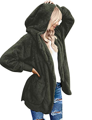 LookbookStore Women's Oversized Open Front Hooded Draped Pocket Cardigan Coat Dark Green Size L (Fit US 12 - US 14)