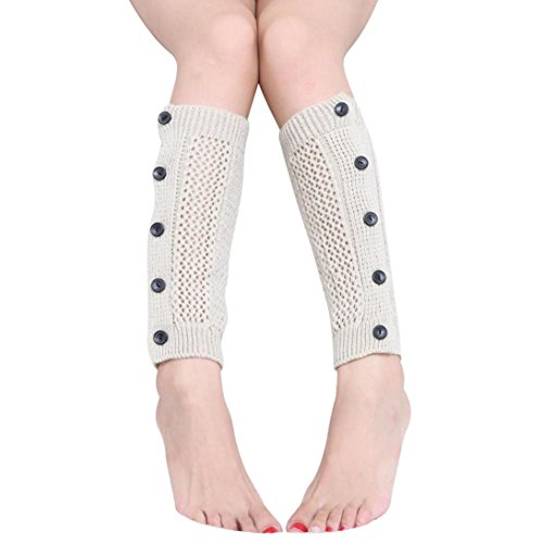 Womens Winter Stockings, Egmy Womens Mesh Five Buttons Leg Warmers Socks Boot Cover Beige