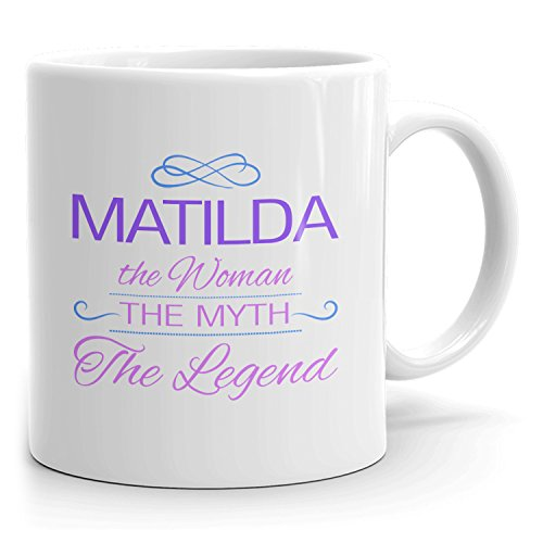 Matilda Coffee Mugs - The Woman The Myth The Legend - Best Gifts for Women - 11oz White Mug - Purple