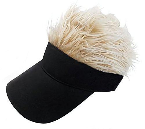 【 フサフサ 髪の毛 フレア バイザー 】(DOLCE LUCCI) フレアー ウィッグ 付 ヘアー ハゲ かつら サンバイザー ゴルフ 釣り アウトドア ジョークグッズ