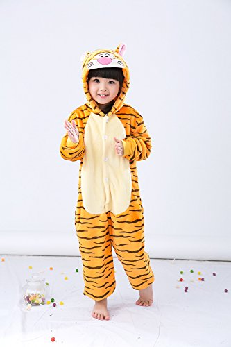Children's Unisex Unicorn Onesie Pajamas Kigurumi Costume Halloween Cosplay Jumpsuit (85, Tigger)