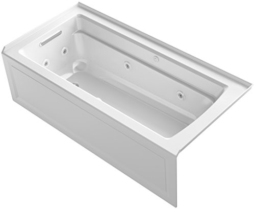 KOHLER 1949-XHGLA-0 Archer 66-Inch x 32-Inch Alcove Whirlpool Bubble Massage Air Bath with Integral Apron, Tile Flange and Left-Hand Drain, White ()