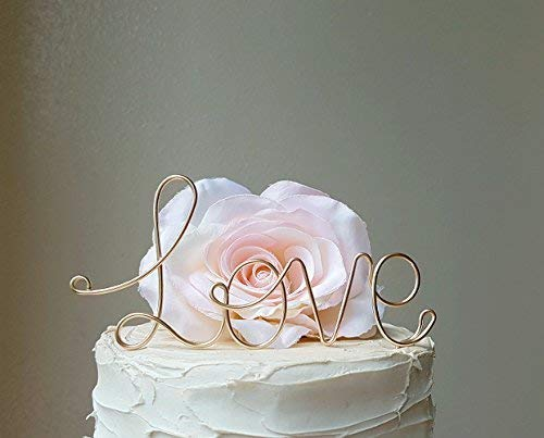 (LOVE Wedding Cake Topper in Champagne Gold Finish)