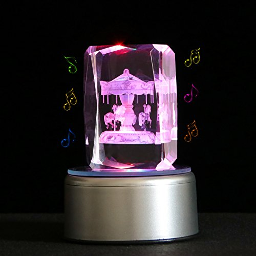 Qianruna 3D Laser Etched Crystal Carousel Rotating Music Box With Remote Control,Birthday Gifts for Wife and Mom,Mother's Day Gift,Anniversary Gifts,Bluetooth (Carousel Base)