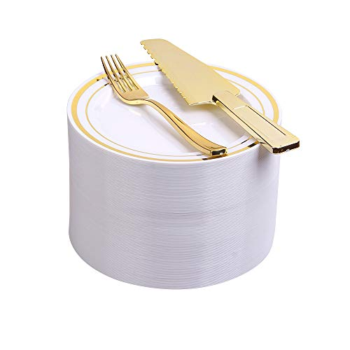100 Count Premium Quality Heavyweight Tableware Set/Elegant Disposable Plastic Plate & Cultery Sets: 7.5