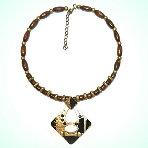 Wood Necklace For Women with Gold Pewter Alloy Metal Focal Pendant w Rhinestone 15