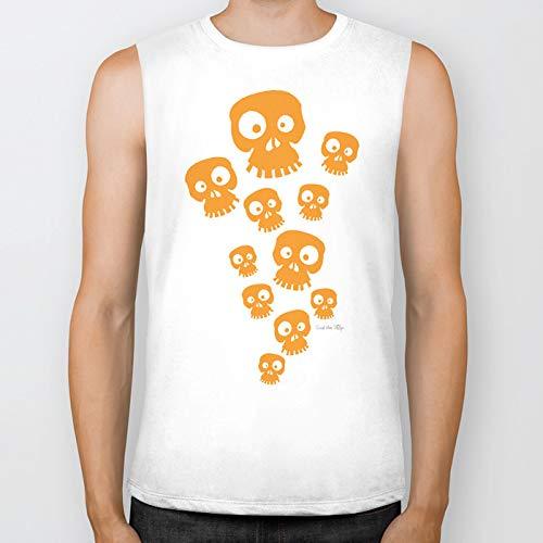 Society6 Muscle Tees, Biker Tanks Medium, Fun Skulls - Orange by goodvibedezign
