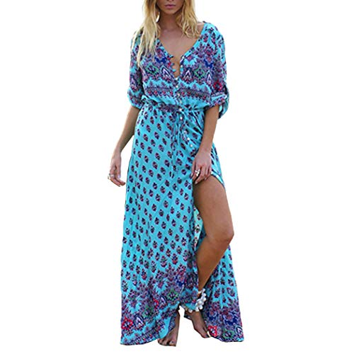 (COSYOU Women's Floral Print Maxi Dresses Boho Button Up Split Beach Party Dress (Blue, 2XL))