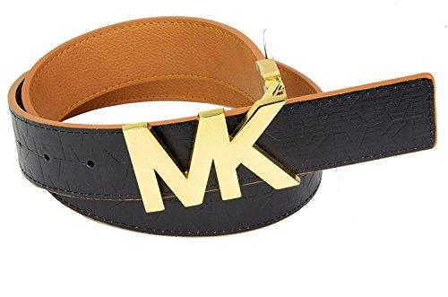 [Michael Kors Reversible Brown/Lug Belt with Gold MK Logo Plaque - Large] (Michael Kors Brown Belt)