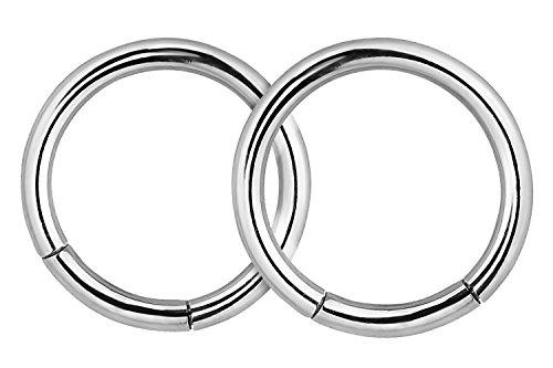 Forbidden Body Jewelry Pair of 2 Rings: 16g 5/16 Inch Surgical Steel Seamless Segment Hoop Rings - Id Stainless Steel Earrings