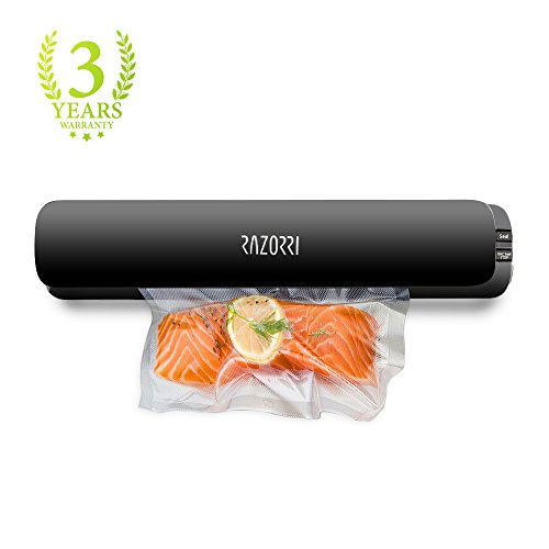Razorri E1800-C Vacuum Sealer Machine Automatic Vacuum Sealing System for Food Sous Vide with Free 5 Starter Kit Vacuum Bags, Super Slim Food Sealer Food Preservation