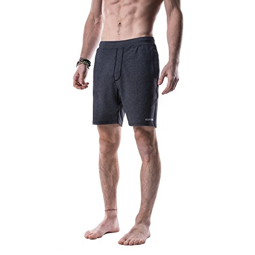 Yoga Crow Mens Swerve Shorts with Moisture Wicking Inner Liner, Heather Grey, Medium