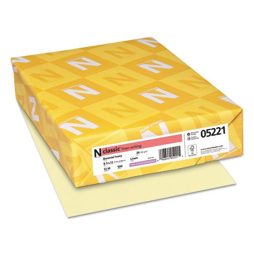 - Neenah Paper Products - Neenah Paper - Classic Linen Writing Paper, 24 lbs., 8-1/2 x 11, Baronial Ivory, 500/Ream - Sold As 1 Ream - Premium watermarked papers. - Guaranteed for use in laser or inkjet printers and high-speed copiers. - Acid-free for archival quality. - Subtle linen finish provides a hint of texture, yet offers great printability. - Made carbon neutral.