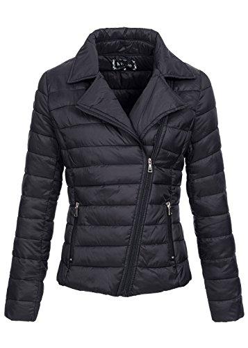 Megusto Damen Nylon Jacke IV-101, Übergangsjacke mit Revers, Bikerjacken Stil, schwarz Schwarz
