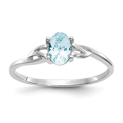 (14k White Gold Blue Aquamarine Birthstone Band Ring Size 7.00 March Oval Fine Jewelry Gifts For Women For Her)