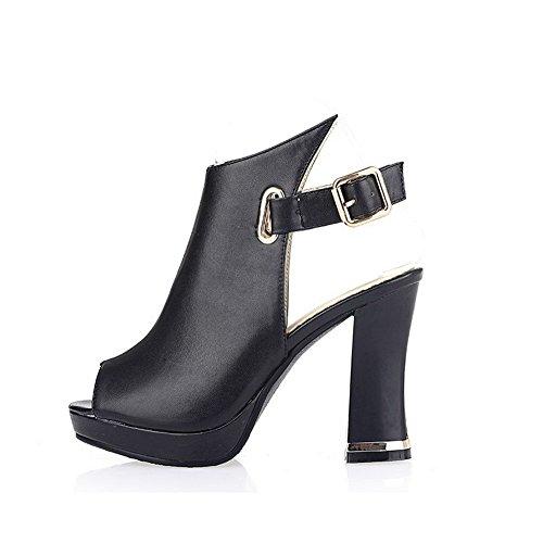 Amoonyfashion Para Mujer Peep Toe Hebilla Pu Sólido Sandalias De Tacón Alto Negro