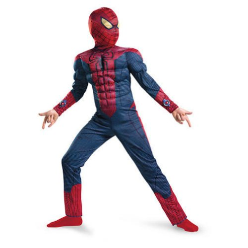 [Disguise Boys Muscle Amazing Spiderman Costume with Mask & Web Shooters 10-12] (Primrose Halloween Costume)