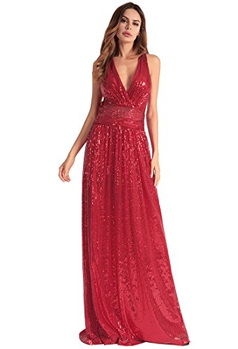 FOLOBE lentejuelas de la mujer vestido de noche vestido de fiesta Red