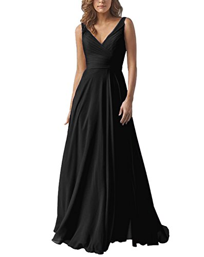 Women's V-Neck A Line Formal Chiffon Bridesmaid Dress Long Prom Party Dress Black US14